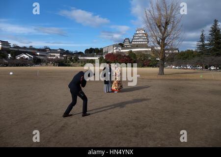 Burg Himeji, einem japanischen Komplex befindet sich in Himeji, Japan, Asien. Asiatische Denkmal, Wahrzeichen, Gebäude, - Stockfoto