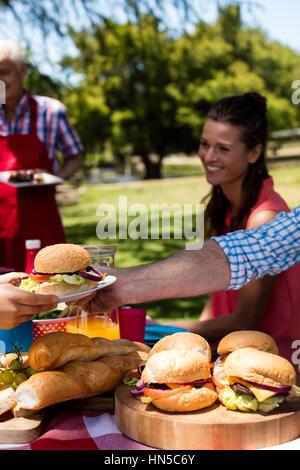 Vater vorbei Platte Burger Sohn im Park an einem sonnigen Tag - Stockfoto