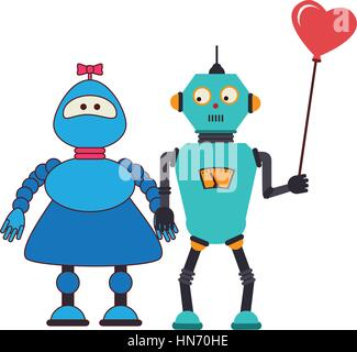 farbenfrohe Silhouette mit paar Roboter mit Ballon in Form von Herzen - Stockfoto