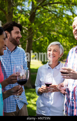 Glückliche Familie Interaktion mit Rotwein im Park an einem sonnigen Tag - Stockfoto
