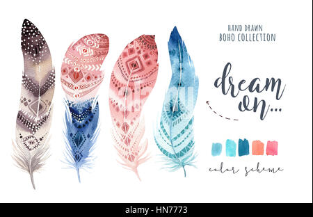 Handgemalte Aquarelle lebendige Feder Set. Boho-Stil - Stockfoto