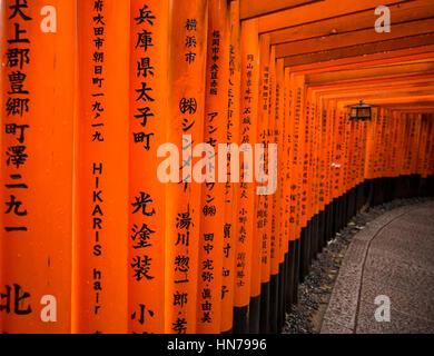 Roten Torii, Fushimi Inari-Taisha (Shinto-Schrein), Kyoto, Japan - Stockfoto