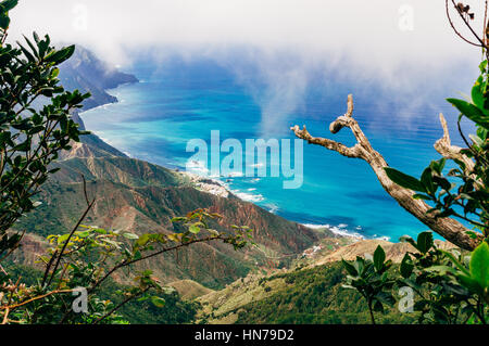 Draufsicht auf den nördlichen Küstenabschnitten von Teneriffa durch Laurissilva-Wald, Canarias, Spanien - Stockfoto