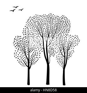 Schöne Karte mit Bäumen Silhouette. Herbst Wald Hintergrund. fallen Blätter und Bäume Karte mit floralen Rahmen. - Stockfoto