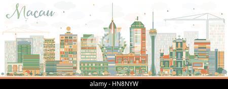 Abstrakte macau Skyline mit Farbe Gebäude. Vector Illustration. Business Travel und Tourismus Konzept mit moderner - Stockfoto