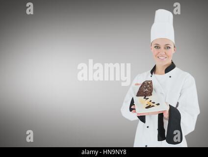 Digitalen Verbund von Koch mit Kuchen Scheibe vor grauem Hintergrund - Stockfoto