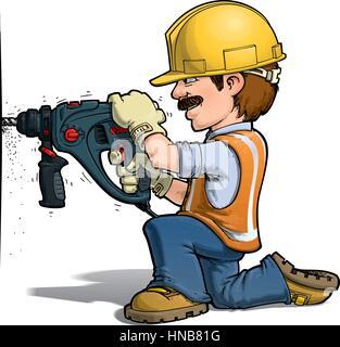 Bauarbeiter bei der arbeit comic  Bauarbeiter mit dem Reparatur-Tools. Comic-Buch Cartoon Pop-Art ...