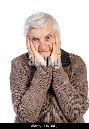 Bild von einer alten Frau den Kopf berühren - Stockfoto