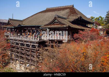 Übersicht, Kiyomizu-dera Tempel, Kyoto. Kansai, Japan. - Stockfoto