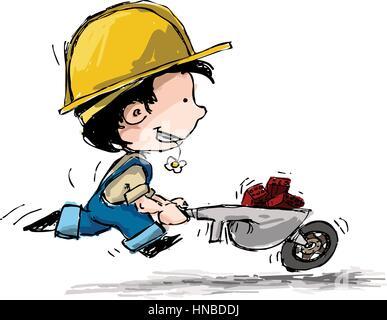 Comic-Illustration eines jungen in Strapsen und ein Schutzhelm mit Wagen voll von Ziegeln ausgeführt. - Stockfoto