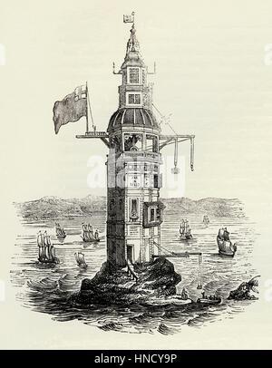 Die winstanley Leuchtturm auf dem Eddystone Felsen, Devon, England - eine alte Gravur C. 1700 - Stockfoto