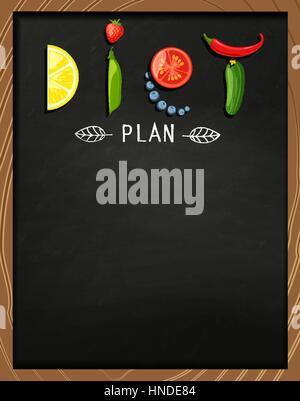 Das Konzept der Ernährung, Ernährung, gesunde Lebensweise - eine Platte mit dem Wort Ernährung mit Obst, Gemüse, - Stockfoto