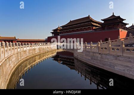 Goldene Wasser Fluss und Wumen-Tor. Die Verbotene Stadt, Peking, China - Stockfoto
