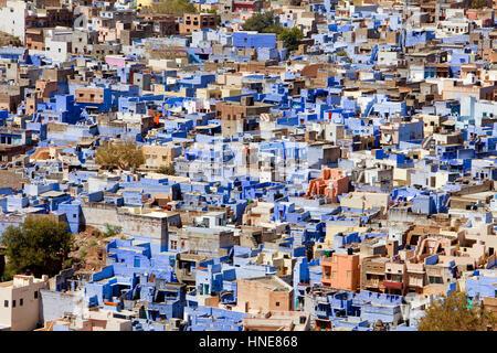Jodhpur wie aus Mehrangarh Fort, Rajasthan, Indien - Stockfoto