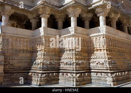 Detail, Außenwand des Jagdish Tempel, Udaipur, Rajasthan, Indien - Stockfoto