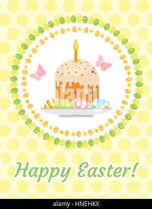 Frohe Ostern Grußkarte, Flyer, Plakat mit Osterkuchen und Eiern. Frühling niedlich Vorlage für Ihr Design. Vektor - Stockfoto