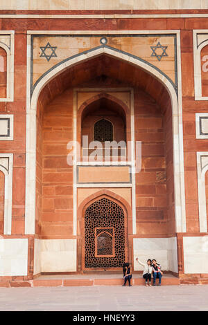 Detail, Wand des Humayun Mausoleum, Delhi, Indien - Stockfoto