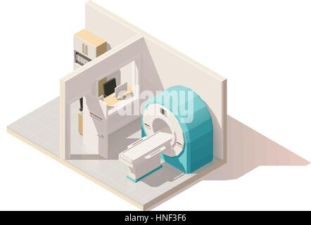 Vektor isometrische low-Poly MRI Raum icon - Stockfoto