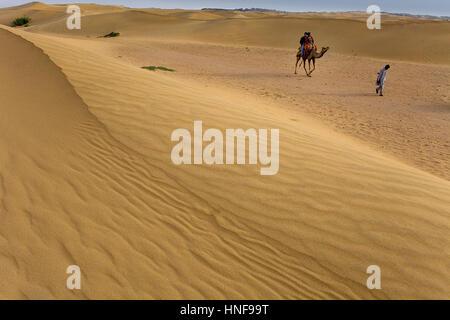 Touristen, die ein Kamel reiten auf Sam Dünen im Desert National Park in den großen Thar Wüste, in der Nähe von - Stockfoto