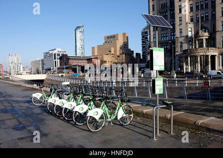 Liverpool Citybike Zyklus Vermietung Schema Fahrräder Pierhead uk - Stockfoto
