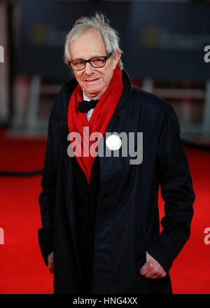 London, UK. 12. Februar 2017. Filmemacher Ken Loach kommt bei British Academy Film Awards (BAFTA) Royal Albert Hall, - Stockfoto