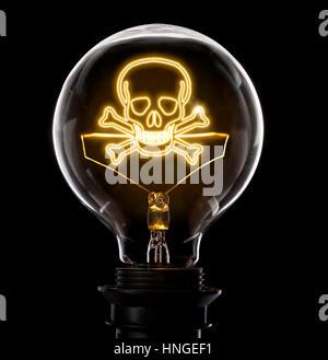 Sauber und glänzend Glühbirne mit einem Totenkopf als einen glühenden Draht. (Serie) - Stockfoto