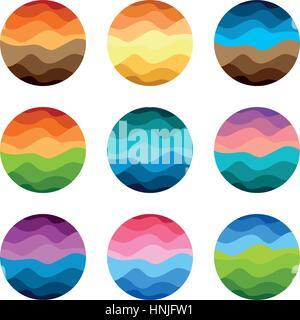 Isolierte abstrakte bunte Runde Form Logos setzen auf weißem Hintergrund-Vektor-illustration - Stockfoto