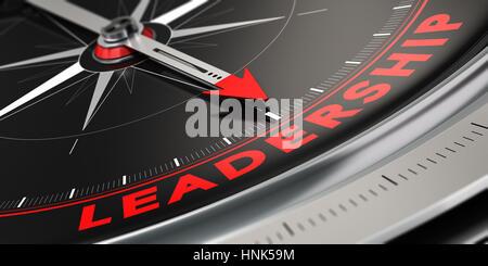 3D-Darstellung eines Kompass mit Nadel nach dem Wort Führung über schwarzen Hintergrund. Konzept der Überlegenheit. - Stockfoto