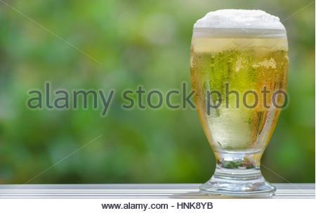 Eine schäumende Bier im Glas - Stockfoto