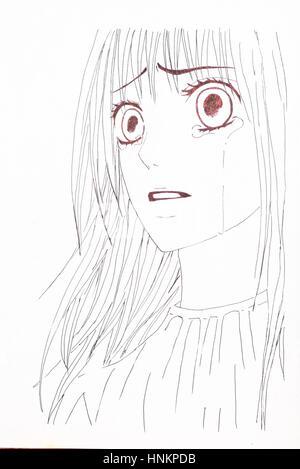 Farbe Bleistift Karikatur Gesicht Frau Mit Handtuch Im Kopf Vektor