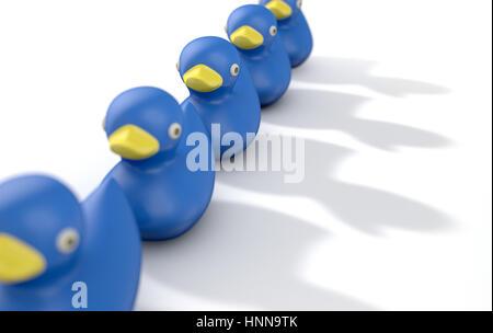 Eine Reihe von organisiert und bereit blau Bad Gummiente, das Spielzeug auf einem isolierten Hintergrund - 3D render - Stockfoto