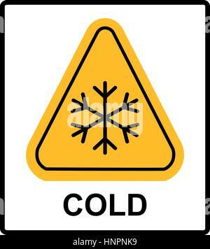 Kalten Warnschild Warnung - Schnee dreieckige Schilder, Vektor Illustration niedrigen Temperaturen extrem kalten - Stockfoto