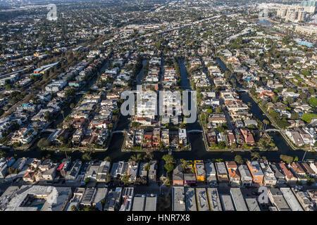 Los Angeles, Kalifornien, USA - 6. August 2016: Luftaufnahme des historischen Grachten Straßen Wohnviertel in der - Stockfoto
