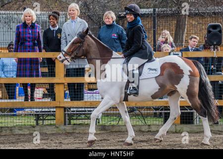 London, UK. 16. Februar 2017. Gerade das Reiten Display - Ebenholz Horse Club, The Duchess of Cornwall, Präsident - Stockfoto