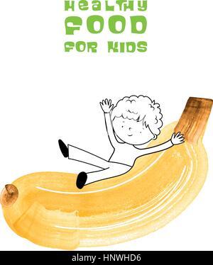 Gesunde Ernährung für Kinder-Vektor-Illustration. Spaß und glückliches Kind mit Früchten mit Aquarellpinsel erstellt. - Stockfoto