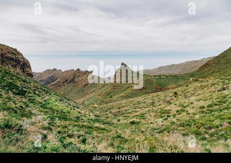 Masca Talblick vom Mirador Altos de Baracan, Teneriffa, Spanien - Stockfoto