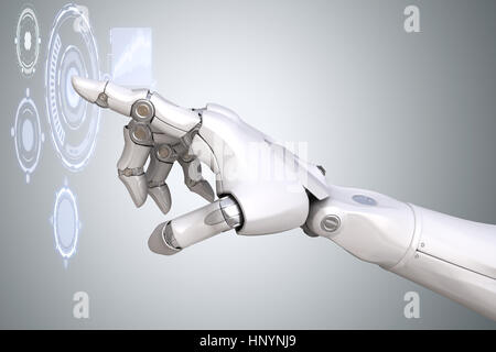 Der Roboterarm mit Virtual Reality Touchscreen arbeiten. 3D illustration - Stockfoto