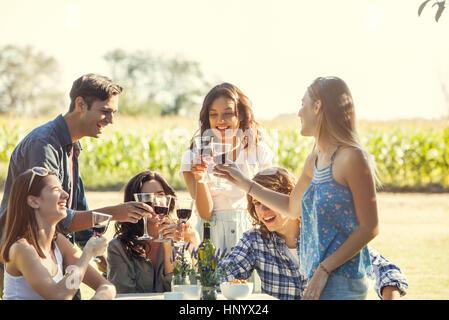 Freunde Glas Wein im Weinberg - Stockfoto