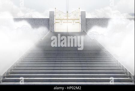 Ein Konzept, mit dem majestätischen Himmelstor des Himmels umgeben von Wolken und die Treppe machen bis zum - 3D - Stockfoto