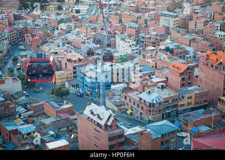 Panoramablick, Seilbahn nach El Alto, La Paz, Bolivien - Stockfoto