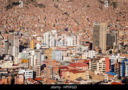 Panorama Aussicht auf die Innenstadt, La Paz, Bolivien - Stockfoto