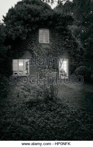 Bauernhaus Ferienhaus in Efeu schwarz weiße Nacht bedeckt - Stockfoto