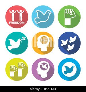 Freiheit flache geruhen Runde Icons Set - Taube und Faust Symbole. Vektor-Icons Set freier Menschen, Freiheit Konzept - Stockfoto