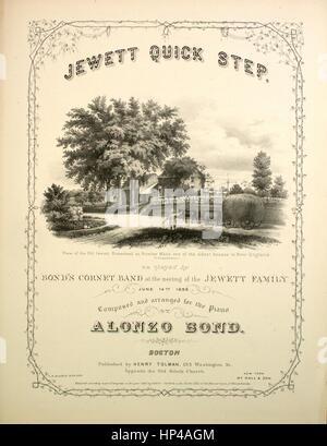"""Noten-Cover-Bild des Liedes """"Jewett Quick Step"""", mit ursprünglichen Autorschaft Notizen lesen """"komponiert und arrangiert - Stockfoto"""