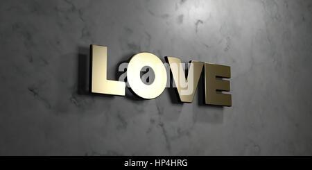 Liebe! goldene schild montiert auf glänzende marmorwand freie