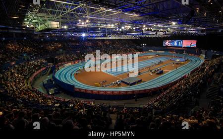 Birmingham, Vereinigtes Königreich. 18. Februar 2017. Gesamtansicht im Stadion während der Muller Indoor Grand Prix - Stockfoto