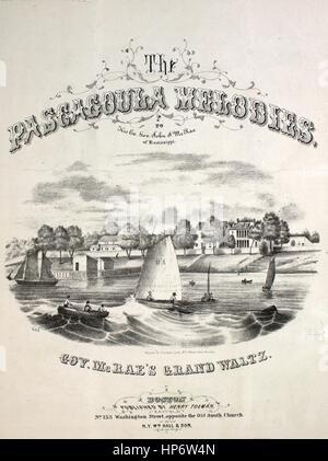 """Noten-Cover-Bild des Liedes """"The Pascagoula Melodien Gov McRae Grand Walzer"""", mit ursprünglichen Autorschaft Noten - Stockfoto"""