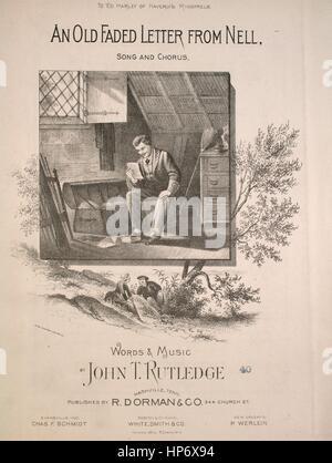 """Noten-Cover-Bild des Liedes """"Ein altes Faded Brief von Nell Lied und Chor"""", mit ursprünglichen Autorschaft Noten - Stockfoto"""