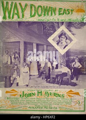 Notencover-Bild des Liedes 'Way Down East', mit Originalnotizen zur Autorenschaft mit der Aufschrift 'Words and - Stockfoto