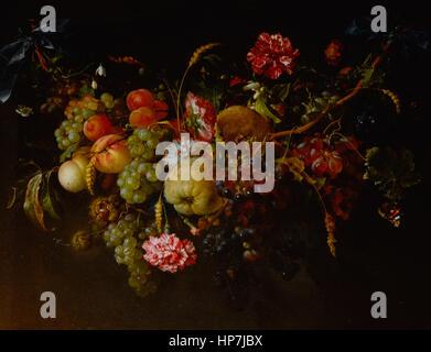 Jan Davidsz. de Heem Girlande aus Früchten und Blumen - Mauritshuis Museum den Haag - Stockfoto
